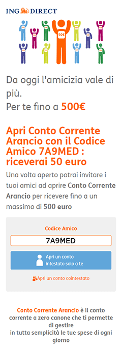 APRI UN CONTO ING DIRECT PER TE FINO A 500 € IN REGALO!!!